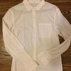 Men's white lulu lemon button down shirt